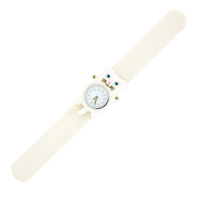 Montre slap - Funny Time Chat blanc