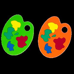 2 Untersetzer - Apéro Palette Grün / Orange
