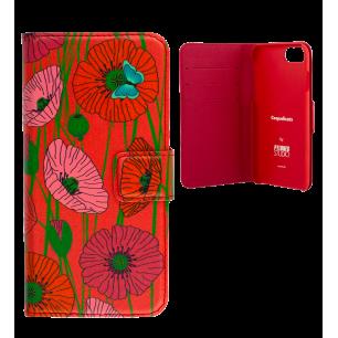 Custodia a portafoglio per iPhone 6, 6S, 7 - Iwallet 2 Coquelicots