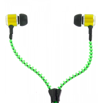 Earphones - Zipper Green