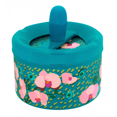 Push-button ashtray - Pousse Pousse Orchid Blue