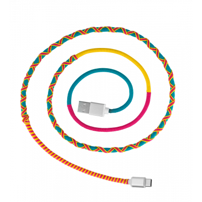USB Type C Cable - Salsa Pink / Turquoise