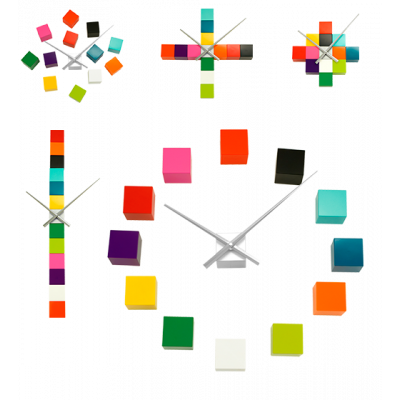 Clock with 12 cubes - Tic Tac Multicolor