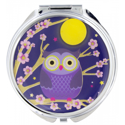 Pocket mirror - Lady Look Blue Owl