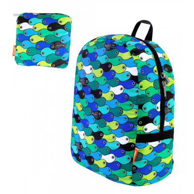 Faltbarer Rucksack - Pocket Bag Blue fish