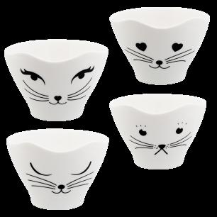 Set di 4 tazze da tè - Teacat White Cat