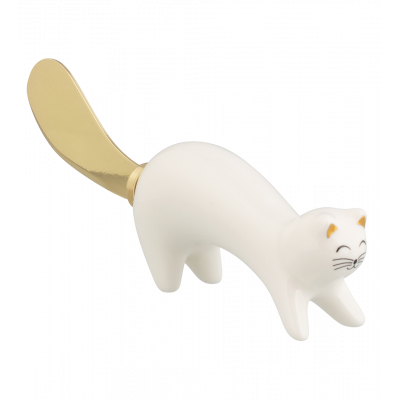 Butter knife - Ponpon White Cat Gold