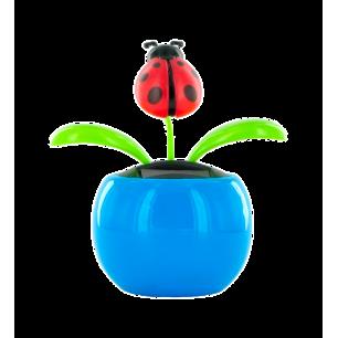 Solarfigur - Dancing Flowers Marienkäfer blau