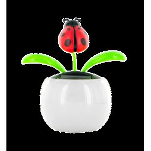 Solarfigur - Dancing Flowers Marienkäfer weiß