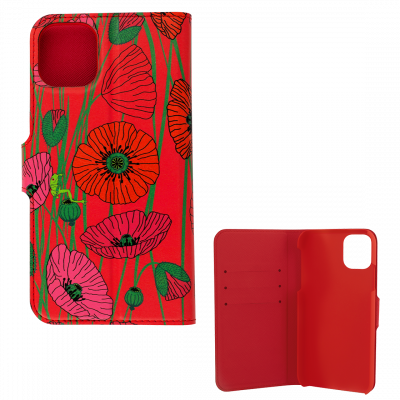 Flap cover/wallet case for iPhone 11- I Wallet 11 Coquelicots
