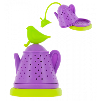 Bird Teapot - Tea infuser Green / Purple