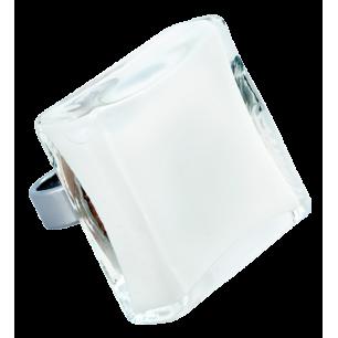 Carre Giga Milk - Anello in vetro Bianco