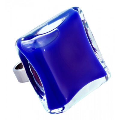 Carre Giga Milk - Glass ring Dark Blue