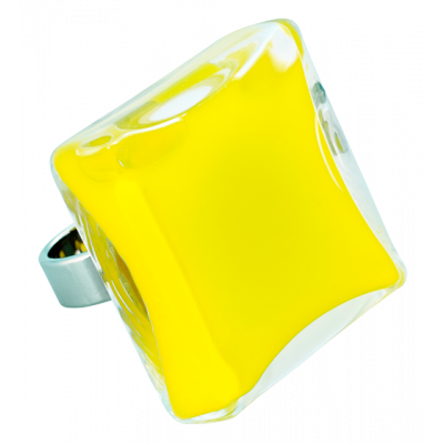 Carre Giga Milk - Glass ring Yellow