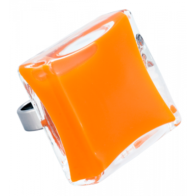 Carré Giga Milk - Bague en verre Orange