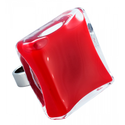 Carre Giga Milk - Glass ring Dark red