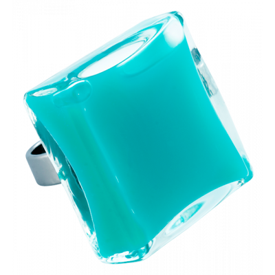 Carre Giga Milk - Glass ring Turquoise