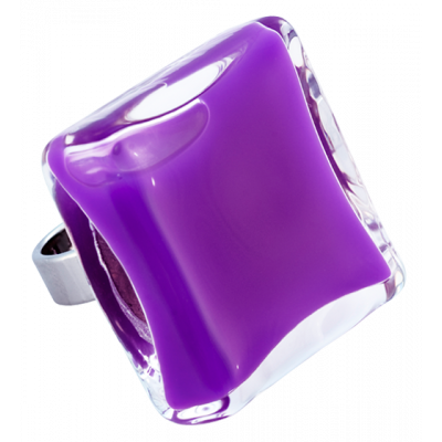 Carre Giga Milk - Glass ring Purple