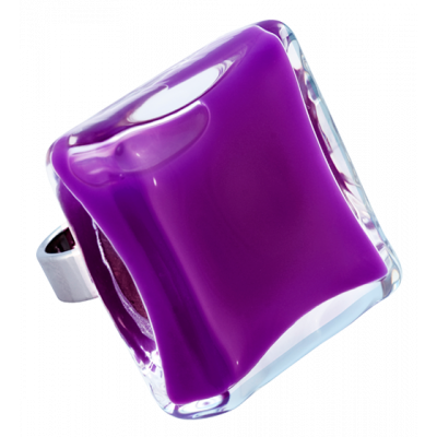 Carre Giga Milk - Glass ring Dark purple