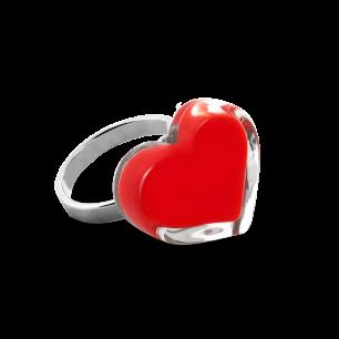Glass ring - Coeur Nano Milk Light red