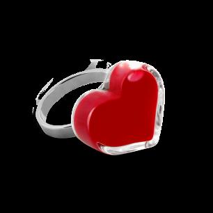 Glass ring - Coeur Nano Milk Dark red