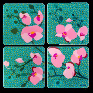 4 Untersetzer - Sous verre Orchid Blue