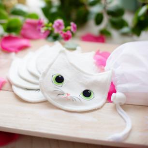 Set di 6 dischi struccanti lavabili - Beautycat Gattino bianco