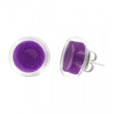 Stud earrings - Cachou Billes Purple