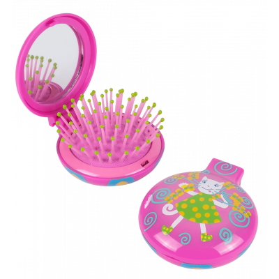 2 in 1 hairbrush and mirror - Lady Retro Kids Pink Cat