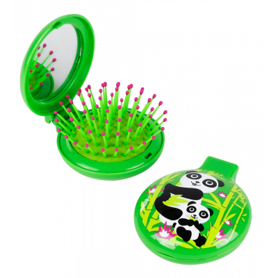 2 in 1 hairbrush and mirror - Lady Retro Kids Panda