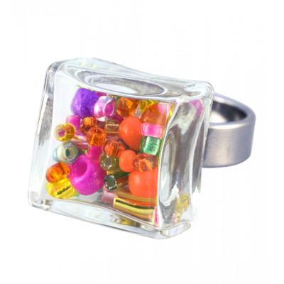 Bague en verre - Carré Mini Mix Perles Printemps