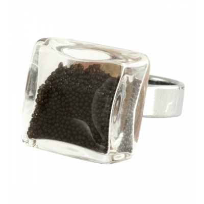 Carre Mini Billes - Glass ring Black