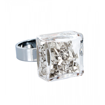 Carre Mini Paillettes - Glass ring Silver