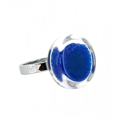 Anello in vetro - Cachou Mini Billes Blu reale