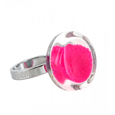 Glass ring - Cachou Mini Billes Fuchsia
