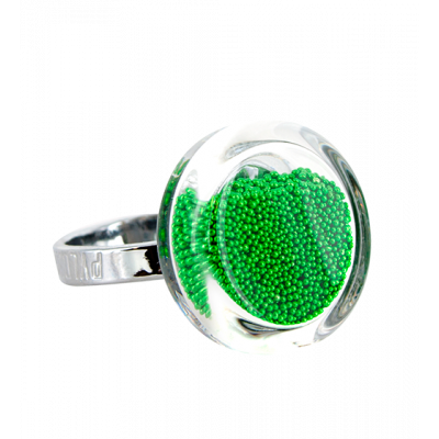 Anello in vetro - Cachou Mini Billes Verde