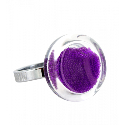 Anello in vetro - Cachou Mini Billes Viola