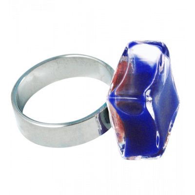 Glass ring - Carré Mini Milk Dark Blue