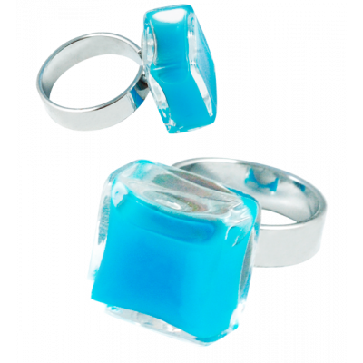 Carre Mini Milk - Glass ring Royal blue