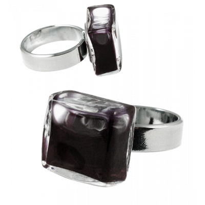 Carre Mini Milk - Glass ring Black