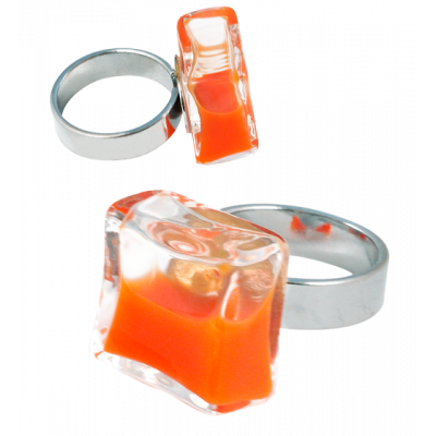 Carre Mini Milk - Glass ring Orange