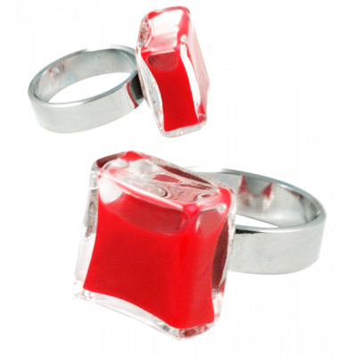 Carre Mini Milk - Glass ring Dark red