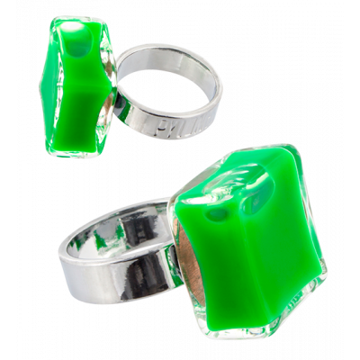 Carre Mini Milk - Glass ring Dark green