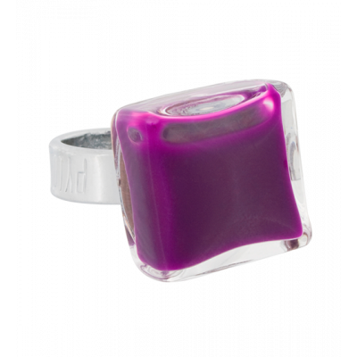 Carre Mini Milk - Glass ring Dark purple