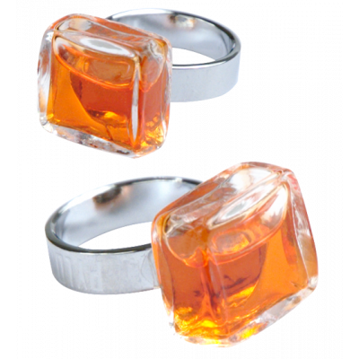 Carré Mini Transparent - Bague en verre Orange