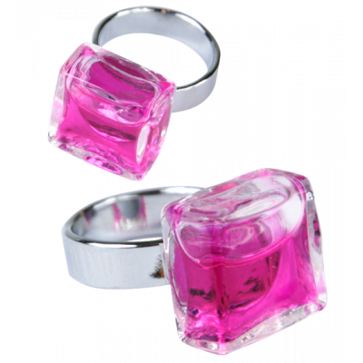 Glass ring - Carré Mini Transparent Pink