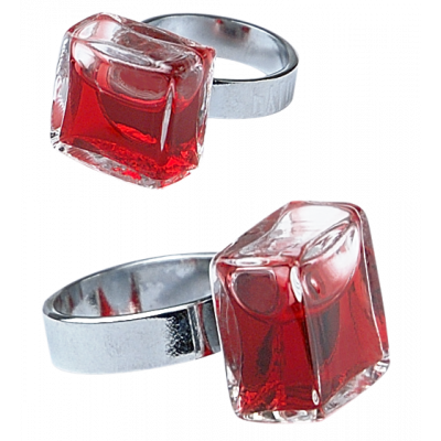 Glass ring - Carré Mini Transparent Red
