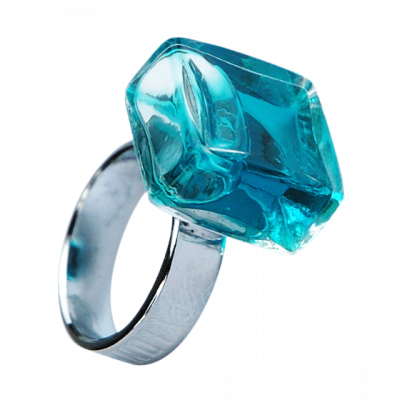 Glass ring - Carré Mini Transparent Turquoise