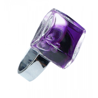 Carre Mini Transparent - Anello in vetro Viola