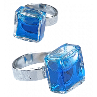 Carre Mini Transparent - Anello in vetro Blu scuro